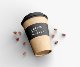 Coffee Cup With Coffee Beans Mockup PSD