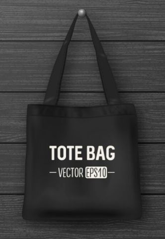 Black Tote Bag Mockup Vector