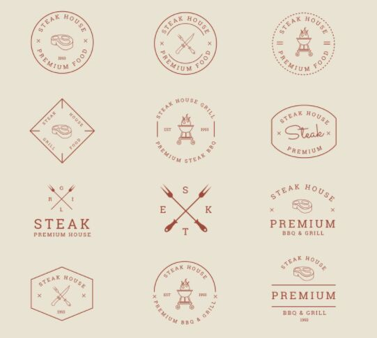 12 Grill and BBQ Badges Vector