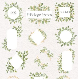 Muted Green Eucalyptus Foliage Watercolor Frames & Decorations