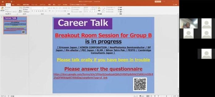 IIDP Professor Akira Izumi guiding students during breakout room session