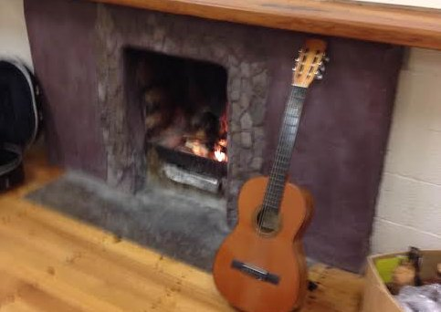 Guitar too close to the fire.