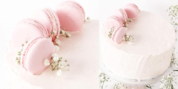 Tarta de cumpleaños y Macarons
