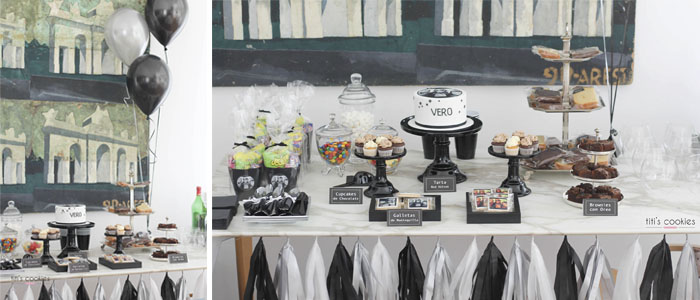 Mesa de dulces en Negro - Plata - Blanco