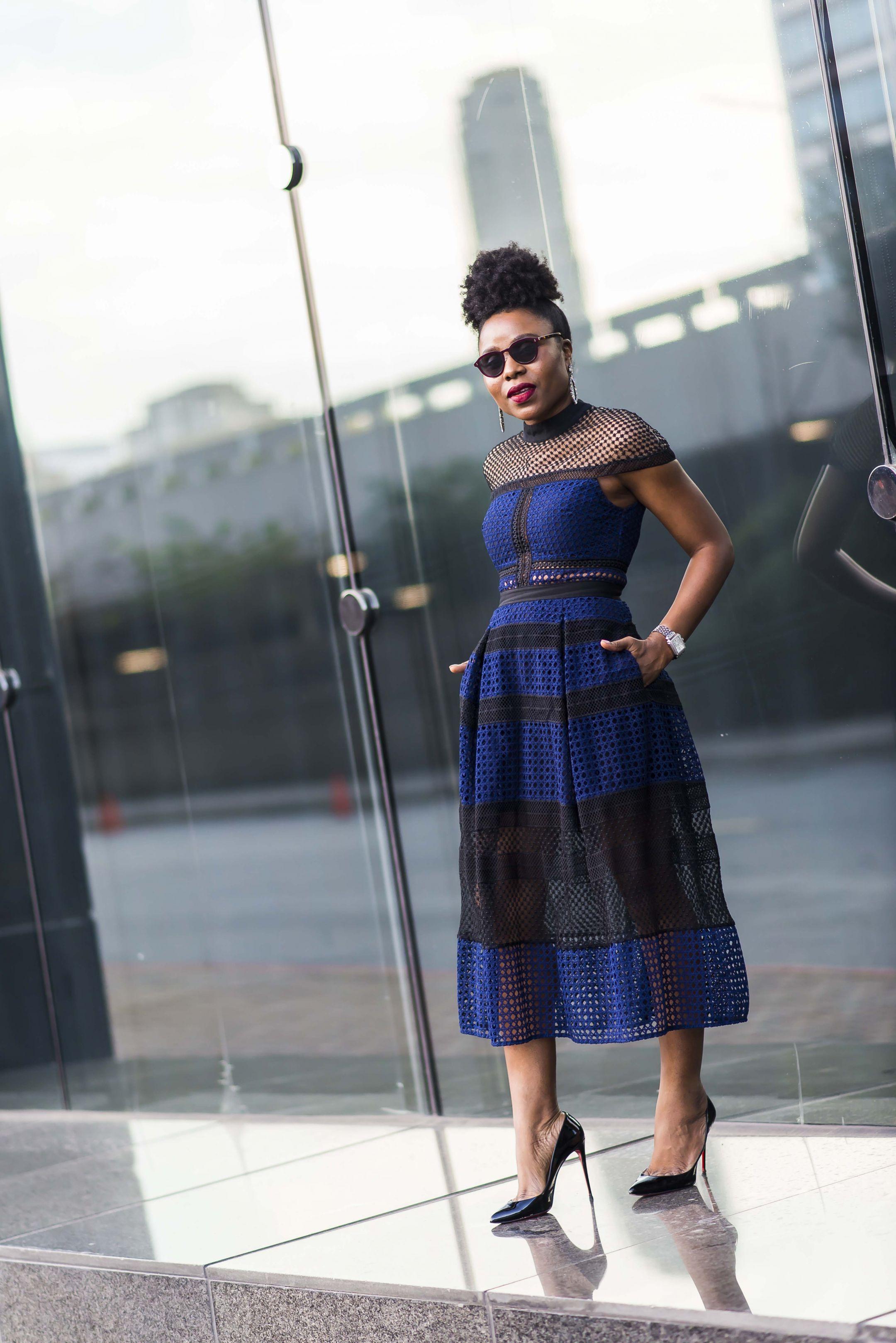 self-portrait crosshatch midi dress