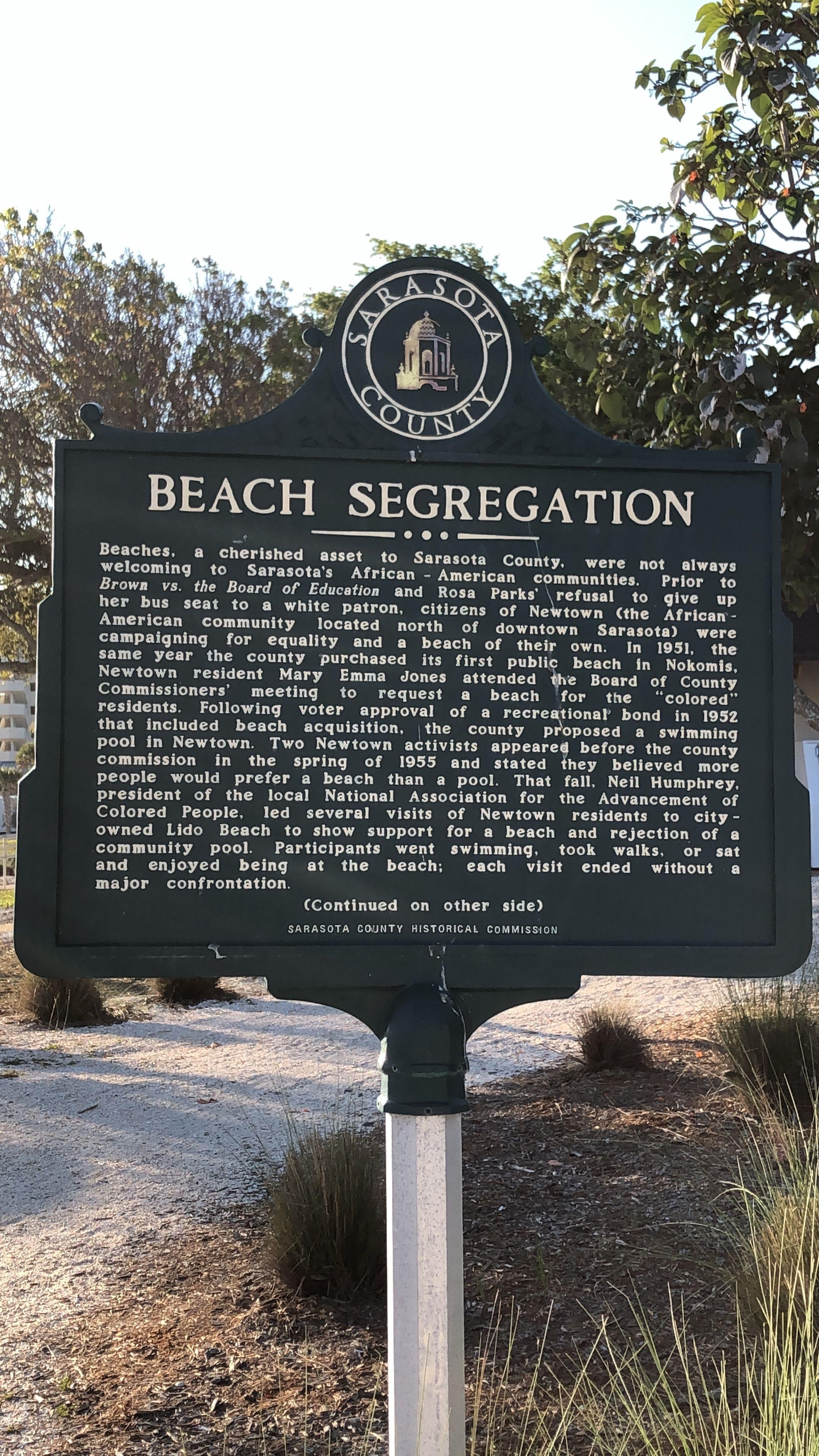 Beach segregation information
