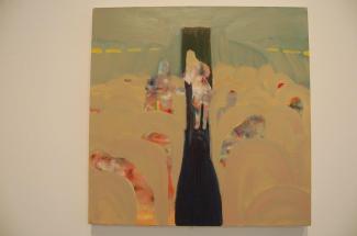 "Jordan Graw, Mile High Toilet Line, 2010oil on canvas, 18"" x 24"" photo courtesy of Alana Bogrand"