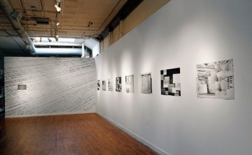 "Untitled, Graphite on wall [left]. Window series 1- 8, Collaged etching and aquatint, 20"" x 30"" ea. [right] Photo: Carlos Avendaño"