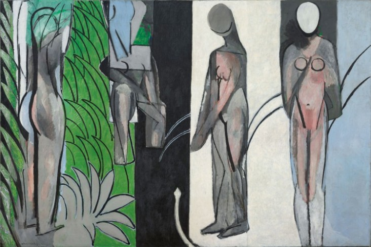 Bathers by a River, 1909, 1913, and 1916, Henri Matisse, French, 1869-1954, Oil on canvas, 102 1/2 x 154 3/16 inches, Art Institute of Chicago