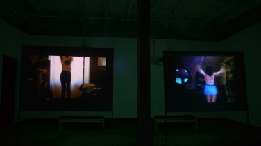 Installation photo of the show in Little Berlin, left video is of Petra Cortright, right is of Ann Hirsch. Photo credit to Beth Heinly and Little Berlin