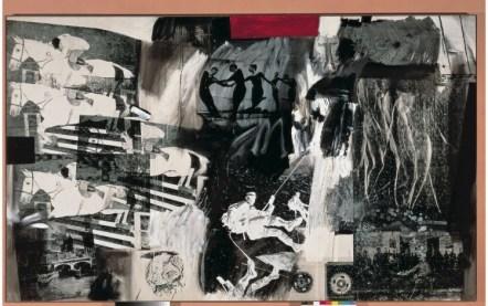 Express,1963. Robert Rauschenberg, American, 1925-2008. Oil and silkscreened ink on canvas,72 x 120 inches (182.9 x 304.8 cm). Museo Thyssen‑Bornemisza, Madrid. © Estate of Robert Rauschenberg/Licensed by VAGA, New York