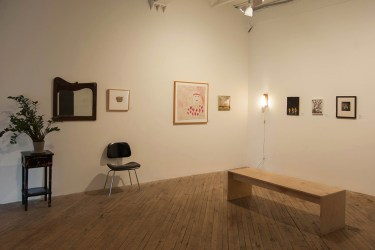 """(Left to Right) James Castle - """"REAL"""" Lee Godie - """"City of Plenty"""" Andrew Leach - """"Nethertasia"""" Katherine Bradford - """"Three Cyclist"""" Gregory Halpern - """"Untitled"""" Emmet Gowin - """"Untitled (Edith)"""" Image: Patrick Barnes"""