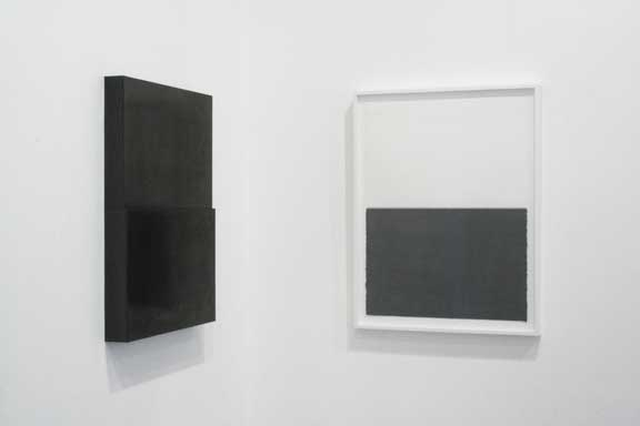 Susan York, Diptych, 2010, 30 x 22 inches, graphite sculpture and paired drawing, copyright of the artist.