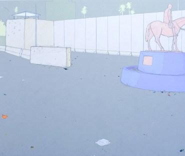 "Uncompensated Endorser Graphite, gouache, acrylic on panel 20x24"", 2008"