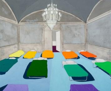 "Modern Popular Movement Graphite, gouache, acrylic on panel 20x24"", 2011"