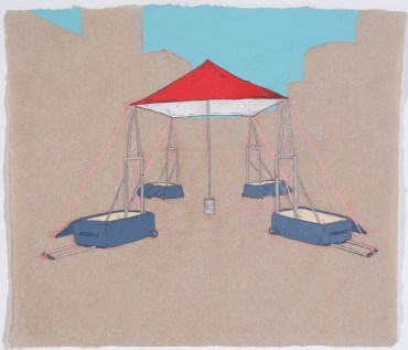 """Rollerboard Shelter graphite, gouache, on hand-made paper 10x12"""", 2012"""
