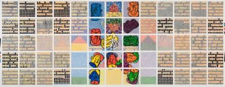 Twins, 2005–06 Enamel over silkscreen grid on baked enamel steel plates