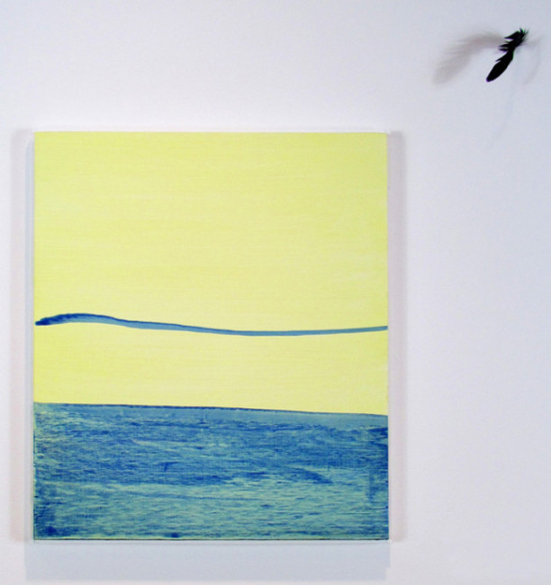 South Philly Sun Shadow, Take Me to the Sea 2013 Acrylic on panel, duck feather Adam Lovitz Photo by artist