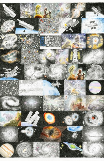 Mia Rosenthal Google Portrait of Hubble Telescope, 2013 26 ¼ x 17 inches Ink, pencil and gouache on paper