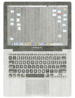 Mia Rosenthal MacBook Pro (self portrait), 2012 17 5/8 x 12 ½ 5 3/8 x 8 3/8 (cord) Ink, gouache and graphite on paper