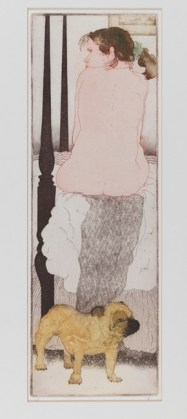 Thelma Grobes, b. 1931 Yellow Dog, 1998 Color etching with sugarlift, aquatint, drypoint, & scraping on Twinrocker handmade paper 15 1/2 x 5 1/4 in. (39.37 x 13.335 cm.) Art by Women Collection, Gift of Linda Lee Alter, 2011.1.291