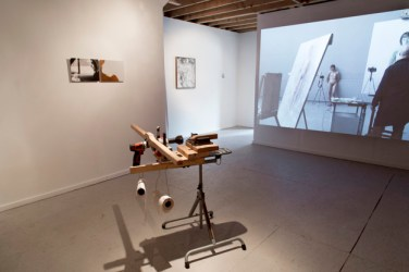 Installation view of To Labor With Love, featuring works by Brittany Carmicheal, Kelton Bumgarner, Michelle Wallace, and Elina Brotherus. Image courtesy of Elisa Gabor.