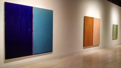 shot, east wall -- Blue and Blue, Flesh and Orange, Green and Gold I
