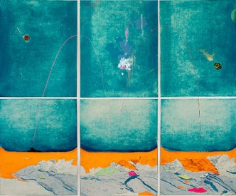 Later that Day at Second Beach, 2014, intaglio with chine collé, screen print, 40 x 48 inches, edition of 5