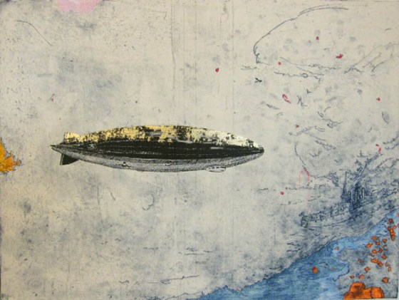 Zeppelin (1 of 2), 2013, intaglio with chine collé, screen print, gold foil, 18 x 24 inches, edition of 7