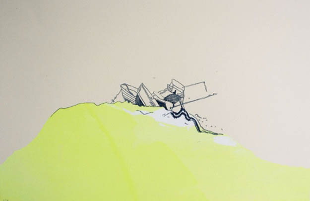 Yellow Wave, 2012, screen print, 11 x 17 inches, The Last Leg series: edition of 8