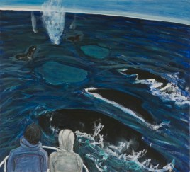 "Sarah McEneaney Humpbacks, 11 5/8"" x 12 3/4"", egg tempera on wood, 2010"