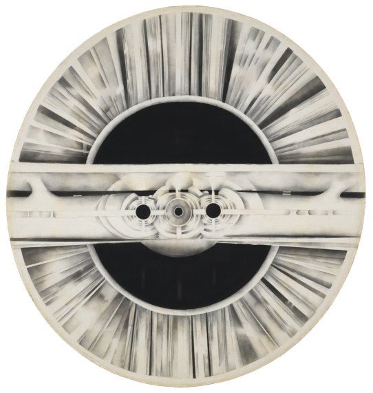 Lee Bontecou, Untitled, 1963. Graphite and soot on circular-shaped stretched muslin. Museum purchase, Laura P. Hall Memorial Fund. © 1963, Lee Bontecou / photo Bruce M. White.