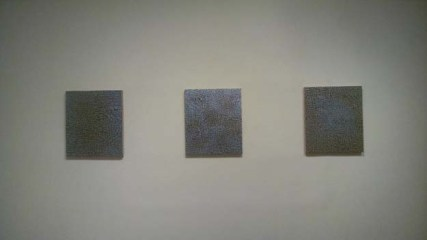 installation view, Equinox I, II, and III all oil on gilded wood panel, 25 x 21.5 inches, 2014