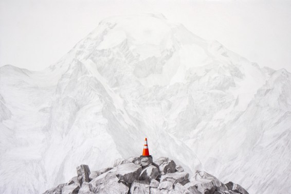 """Beacon, charcoal, graphite, oil on panel, 36"""" x 24"""" 2014"""