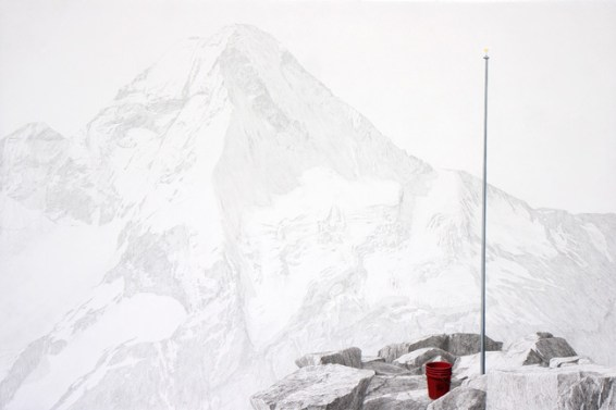 "Flagpole, charcoal, graphite, oil on panel, 36"" x 24"" 2014"