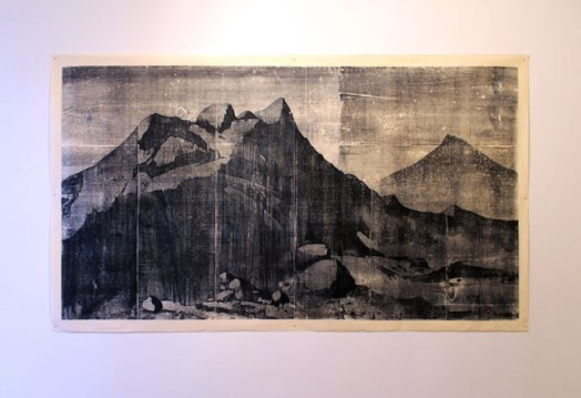 A place on earth (construction debris) - woodblock print on Okawra, 38 x 72 inches, 2015