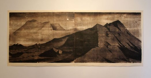 A place on earth (gravel piles) - woodblock print on Kitakata, 38 x 96 inches, 2015