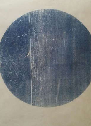 Untitled - woodblock print on Kitakata, 2015, (roughly 19 inch diameter circle)