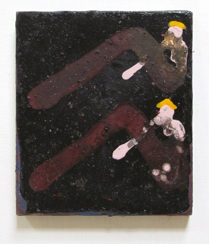 """""""Sisters Sunning and Smoking on Coal Field,"""" Adam Lovitz, Acrylic paint and minerals on panel, 9""""x8"""""""