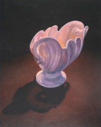 "Joan Wadleigh Curran, Pink Vase, gouache on paper, 19""x15"" 2013."