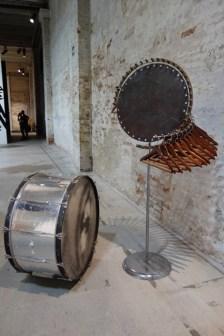 Matinee, 2007-2013. Bronze, steel, hangers, burnt cork. 74 x 62 inches.