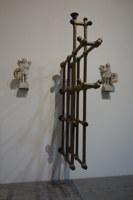 Solemnis, 2004. Brass, marble, geodes. 97 x 10 x 62 inches.