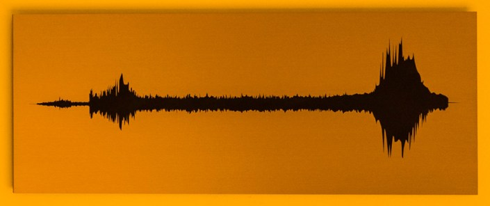 Jaime Alvarez, Sound Waves: Dense Plasma or Ionized Gas Vibrating in Interstellar Space, 2015. Silkscreen on an anodized-aluminum plate, 12 x 30 inches. Image courtesy of the artist.