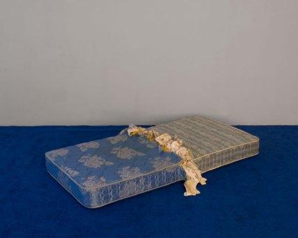 Chad States, Untitled (Sea/Sky), 2016. Carpet, Mattress, Underwear, Jockstraps, Semen, Urine, Fecal Matter, Site Specific Installation.