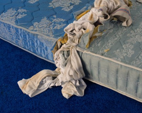 Chad States, Untitled (Sea/Sky) (detail), 2016. Carpet, Mattress, Underwear, Jockstraps, Semen, Urine, Fecal Matter, Site Specific Installation.