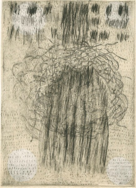This Was As Close As I Got To The Craft, March 2015, drypoint etching with chine colle, 6 x 4""