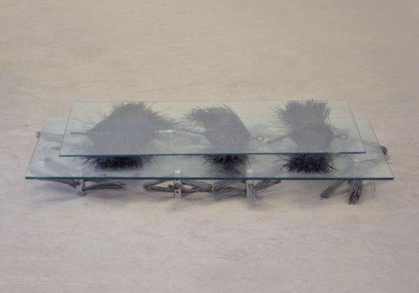 """Matt Neff, Untitled, 36"""" x 18"""" x 8"""", glass, found objects."""