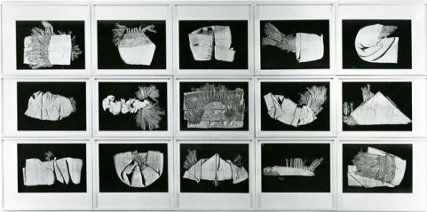 """Understanding Your Chinese Scarf, 1983, 15 black & white copier prints, original mats, entire grid: 48"""" x 98"""", each print: 11 1⁄8"""" x 15 3⁄4""""; Courtesy Estate of Pati Hill"""