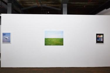"Silos, Windmills, Graveyards, installation view (from left to right) Clark Mizono ""Untitled"", Izaak Schlossman ""Mowed Grass, New Orleans East, LA"", Clark Mizono ""Untitled""."
