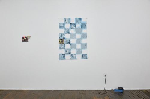 """Silos, Windmills, Graveyards, installation view (from left to right) Sophia Belkin """"Pickup Lookback"""", Sophia Belkin """"Water's Edge"""", Matt Kayhoe Brett """"With Hidden Noise"""""""